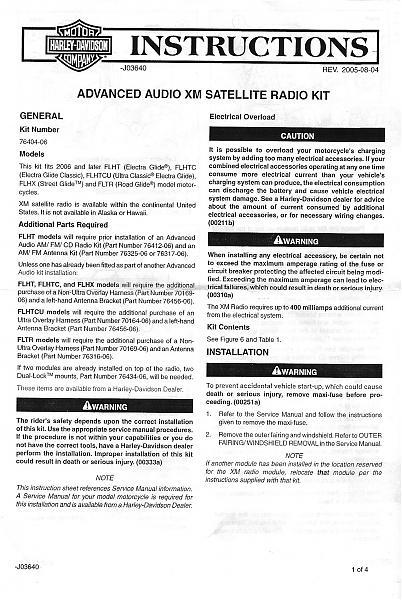 XM Satellite Install Instructions for Harmon Kardon advanced radio ...