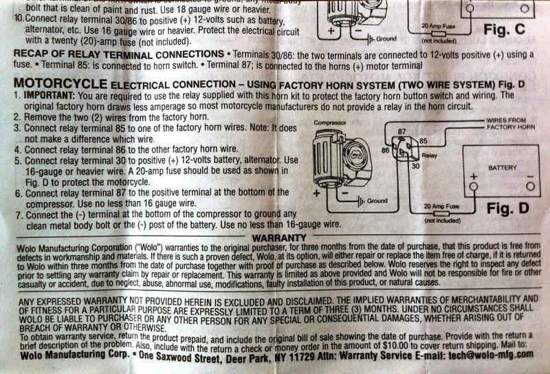bad boy wiring diagram 2012 wolo air horn relay  v twin forum  wolo air horn relay  v twin forum