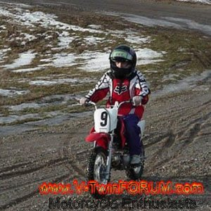 Kayleigh on her new Honda CRF70F