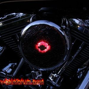 Red Lava Glass air cleaner cover with LEDs